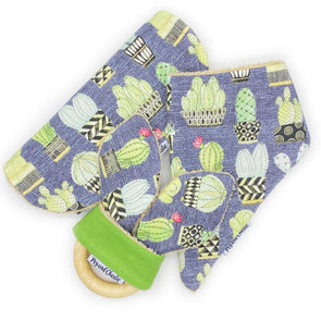Gift Set - Dribble Bib, Burp Cloth & Teething Ring - Cactus Pots