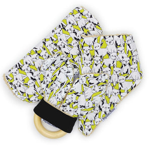 Gift Set - Dribble Bib, Burp Cloth & Teething Ring - Frenchie Lime