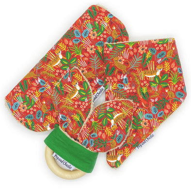 Gift Set - Dribble Bib, Burp Cloth & Teething Ring - Into the Jungle Red