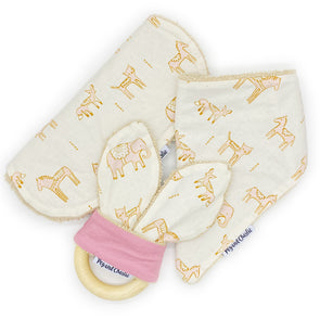 Gift Set - Dribble Bib, Burp Cloth & Teething Ring - Dahlia Pink