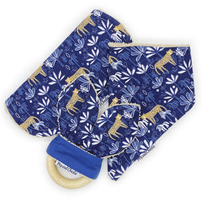 Gift Set - Dribble Bib, Burp Cloth & Teething Ring - Tiger at Night