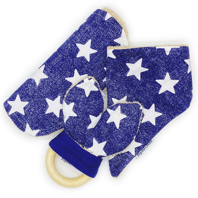 Gift Set - Dribble Bib, Burp Cloth & Teething Ring - White Stars Denim