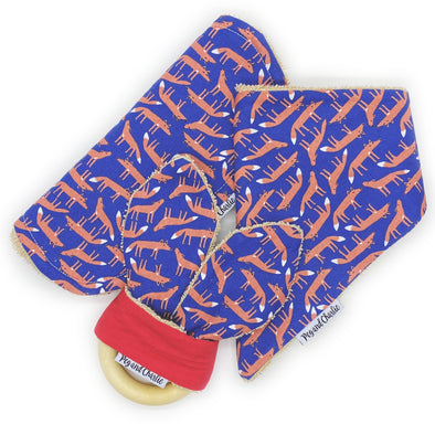 Gift Set - Dribble Bib, Burp Cloth & Teething Ring - Midnight Fox
