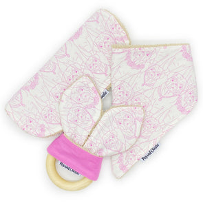 Gift Set - Dribble Bib, Burp Cloth & Teething Ring - Pugs Pink