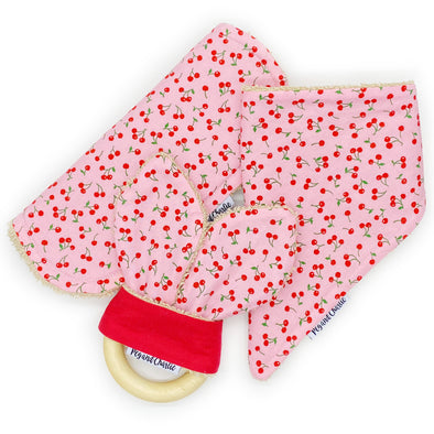 Gift Set - Dribble Bib, Burp Cloth & Teething Ring - Cherries