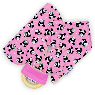Gift Set - Dribble Bib, Burp Cloth & Teething Ring - Tossed Pandas Pink