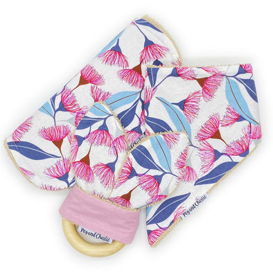 Gift Set - Dribble Bib, Burp Cloth & Teething Ring - Gumnut Flowers
