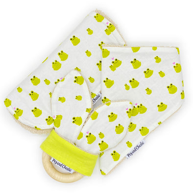 Gift Set - Dribble Bib, Burp Cloth & Teething Ring - Frog Love