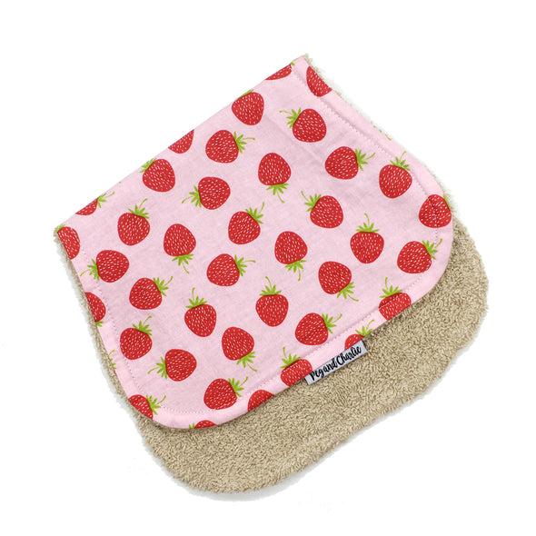 Gift Set - Dribble Bib, Burp Cloth & Teething Ring - Strawberries