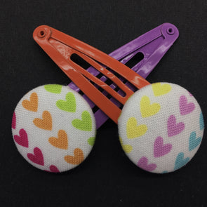 Twin Pack Snap Clips - Rainbow Hearts