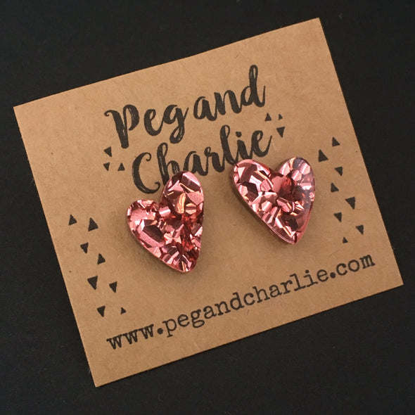 Acrylic Studs - Heart of Rose Gold