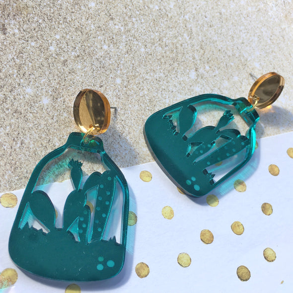 Statement Dangles - Teal Terrarium