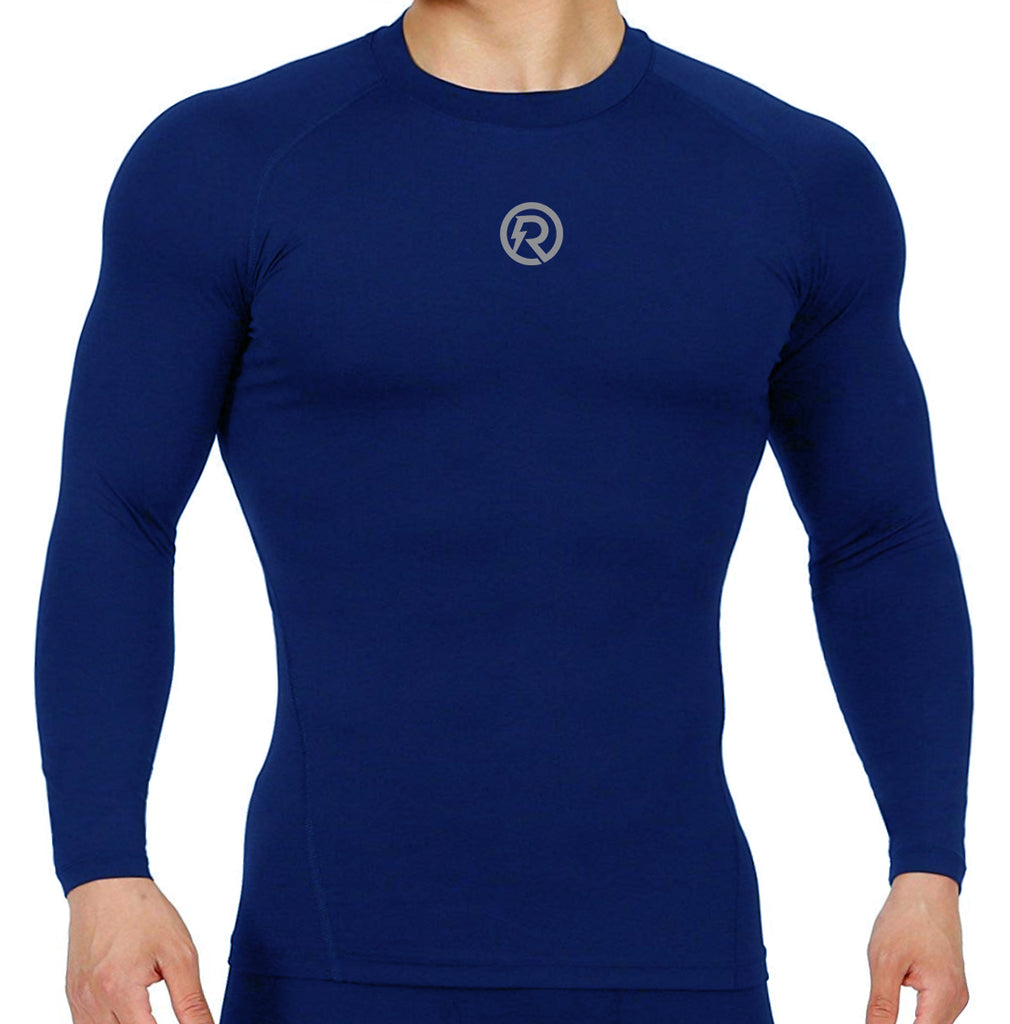 Recharge Polyester Compression Top Full Sleeve (Navy Blue)