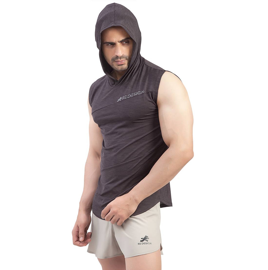 Cutsleeve Gym T-Shirt Hoodie For Men (Dark Brown)