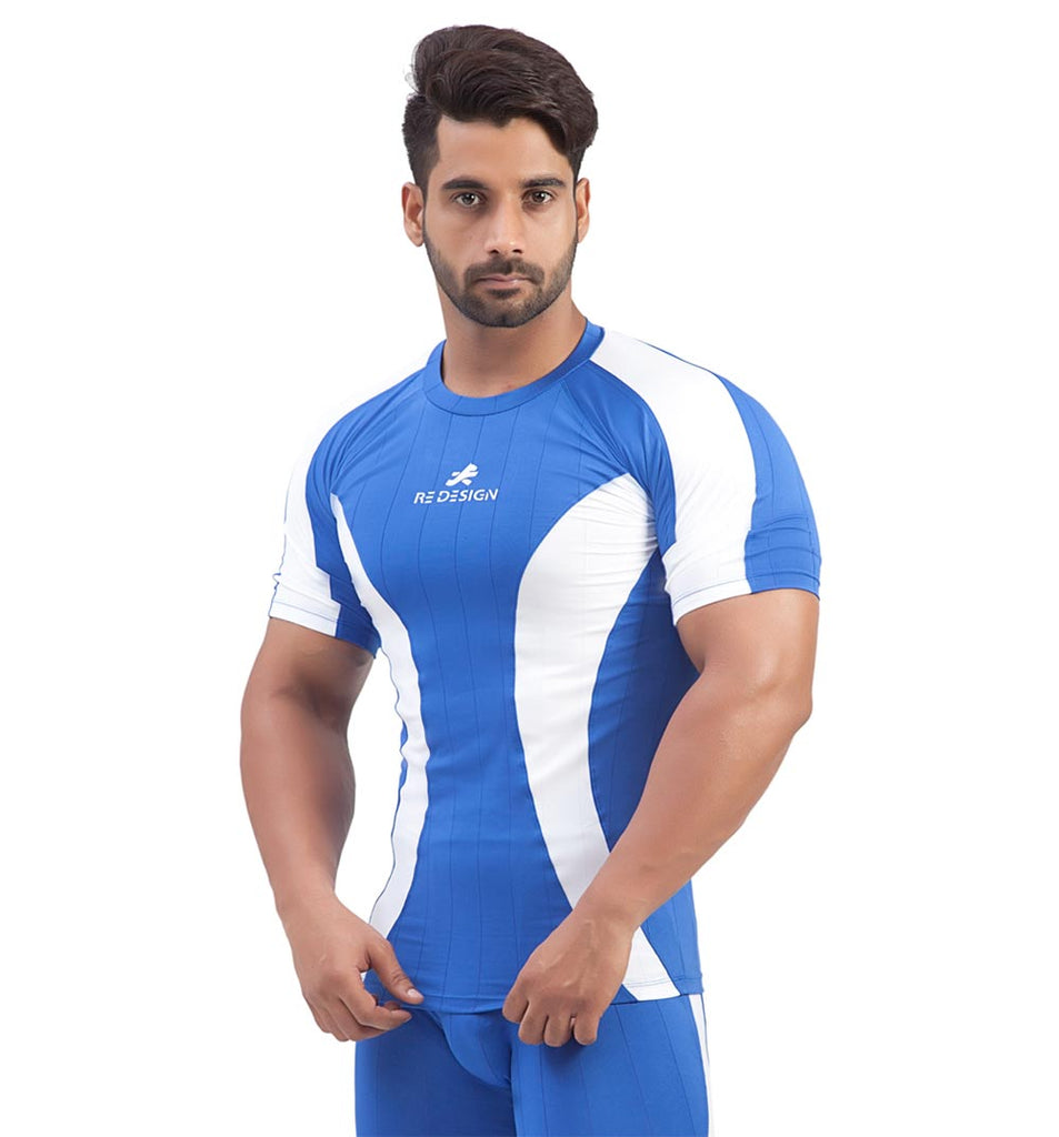 Polyester Compression Tshirt/Top Half Sleeve (Blue)