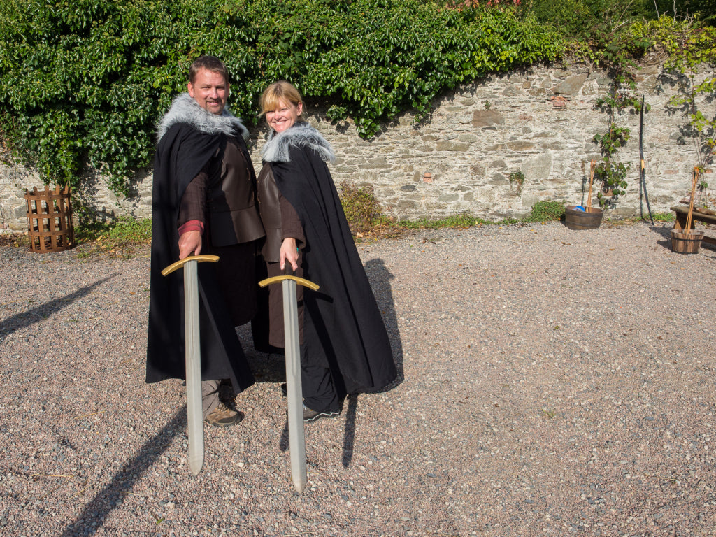 Preparing for a bit of medieval sword play.