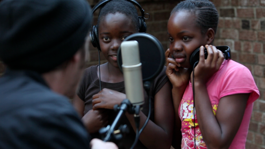 Recording music with a couple of the girls that live at The Emerald Hill Children's home in Zimbabwe. Photo: Nasa Koski, 2013.