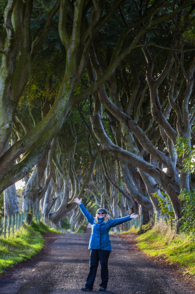 Deb and the dark hedges.