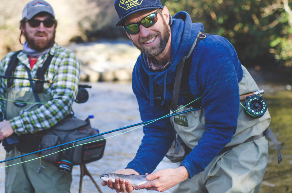 Scott and Neal fishing the East Fork of the French Broad River.