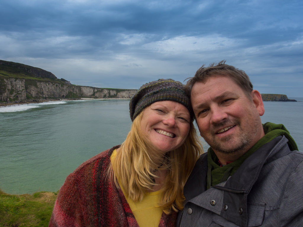 Dave and Deb, aka The Planet D, along the Irish coast.