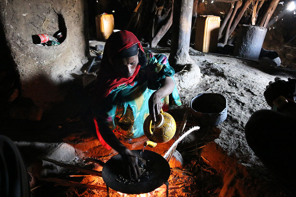 The start of a traditional coffee ceremony in Geech Village, Simien Mountains National Park.