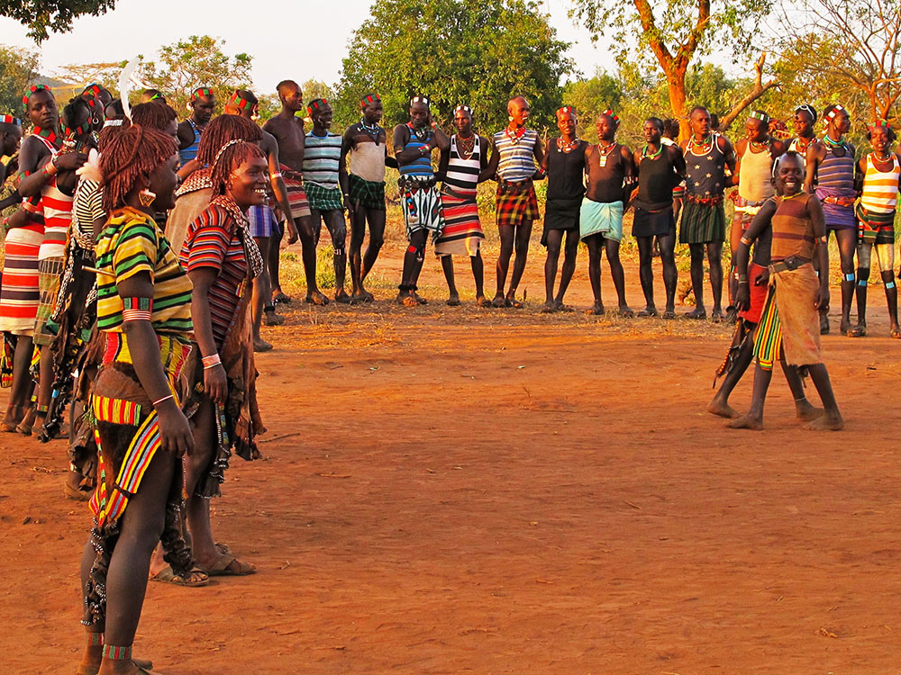 Celebratory dancing and singing at the Hamar bull jumping ceremony.