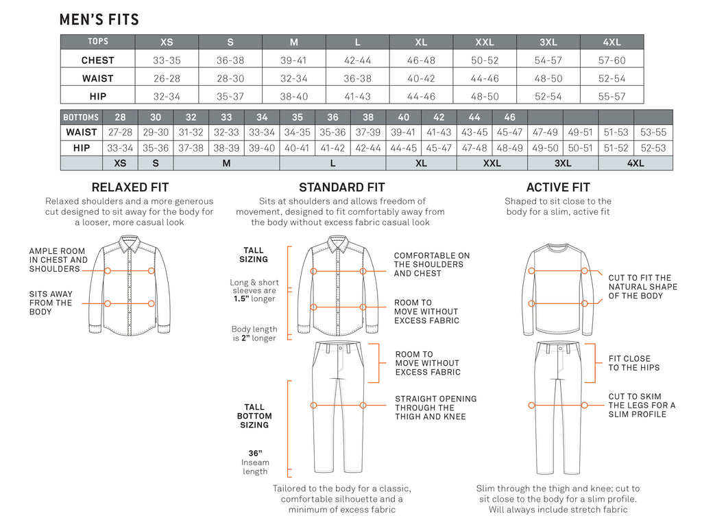 Royal Robbins Men's Size Chart
