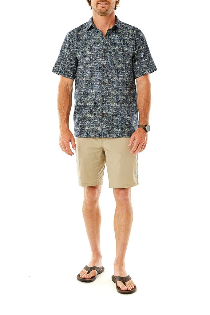 Men's Cool Mesh Eco Print Short Sleeve On Model Men's Cool Mesh Eco Print Short Sleeve