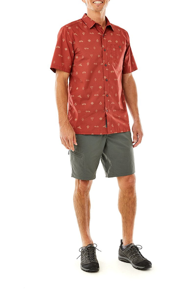 Men's Adventure Travel Short Sleeve On Model Men's Adventure Travel Short Sleeve