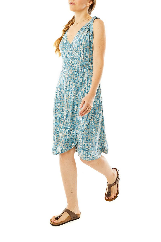 Women's Noe Cross-Over Dress On Model Women's Noe Cross-Over Dress
