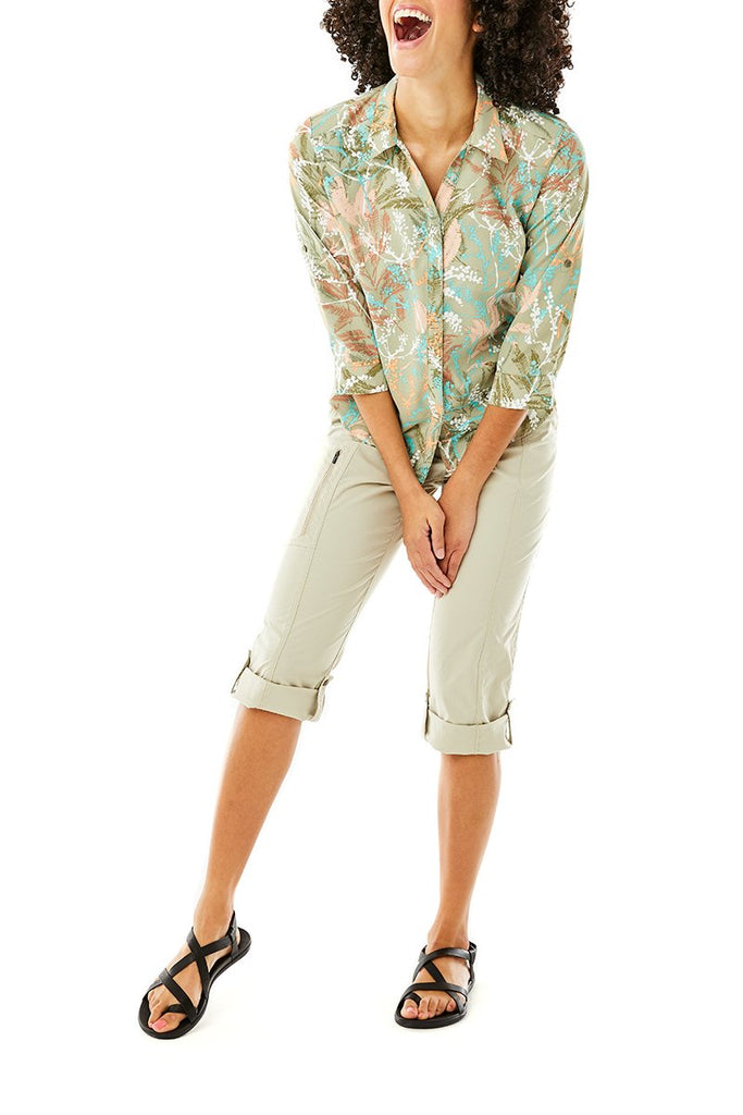 Women's Expedition Print 3/4 Sleeve On Model Women's Expedition Print 3/4 Sleeve