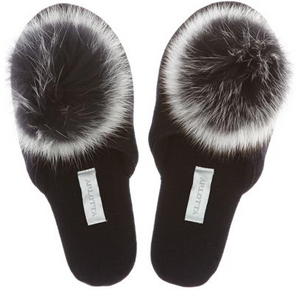 # 6011P- Cashmere Slide With Genuine Fox Pom Pom