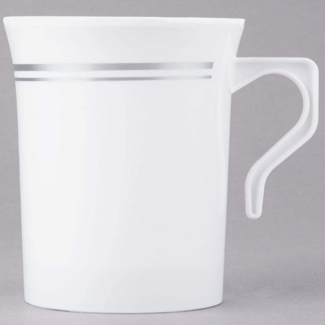 Coffee Cup- White with Silver Trim