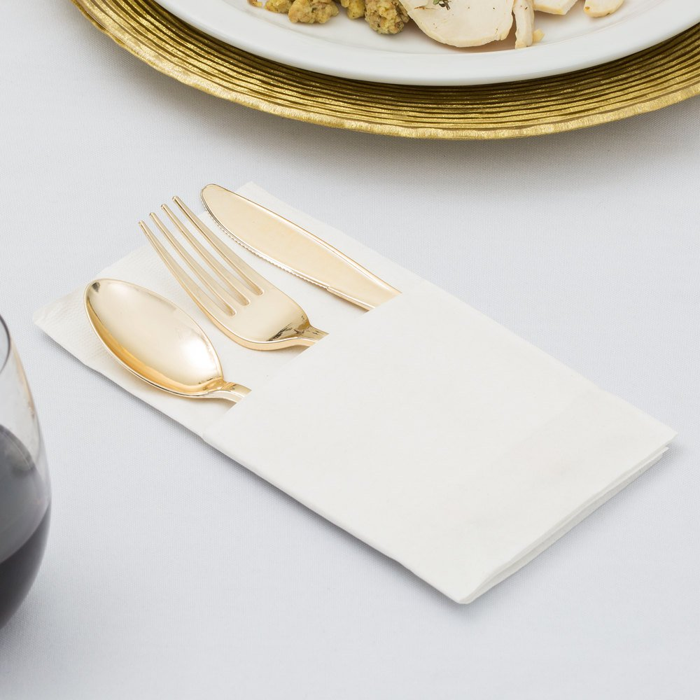 Plastic Gold Cutlery Set with Folded Napkin