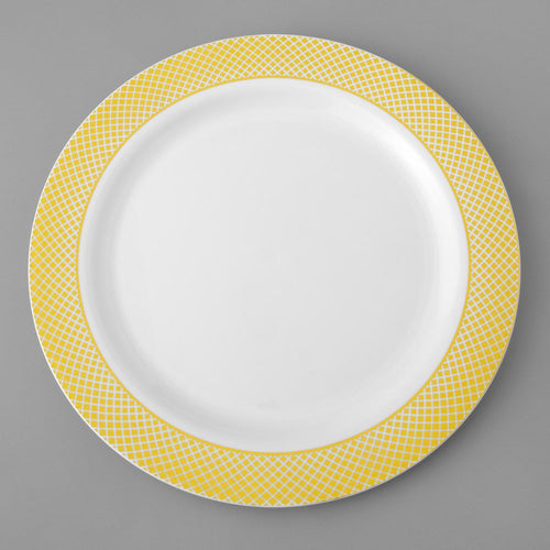 White Plastic Plate with Gold Trim 10