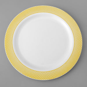 White Plastic Plate with Gold Trim 10""