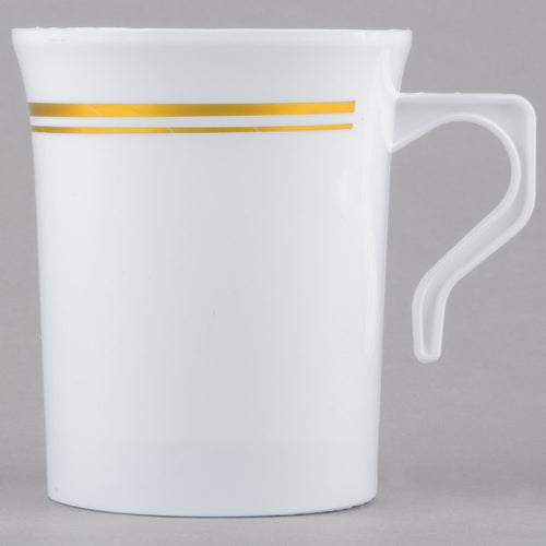 Coffee Cup- White with Gold Trim