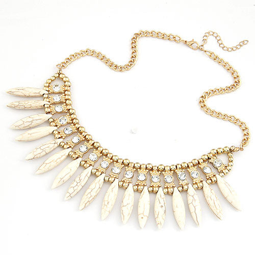 FEATHER RHINESTONE hálsmen