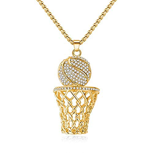 "Ice City Men CZ Gold/Silver Plated Basketball Hoop Pendant 24"" Chain Necklace"