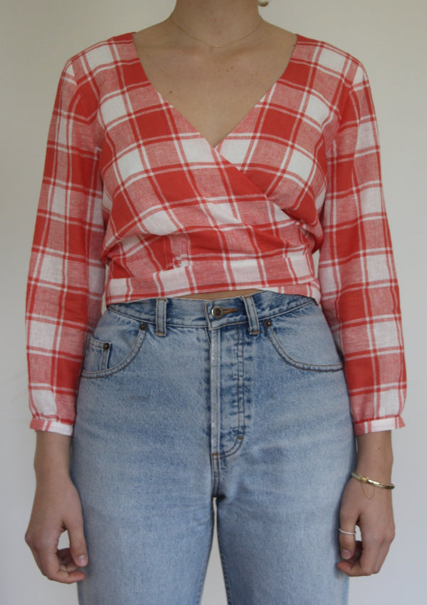 Wrap Blouse in Check