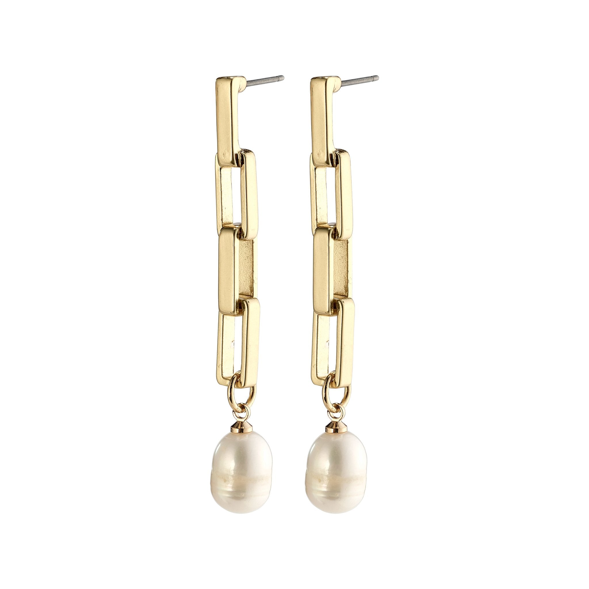 Colomba Earrings - Gold Plated - White