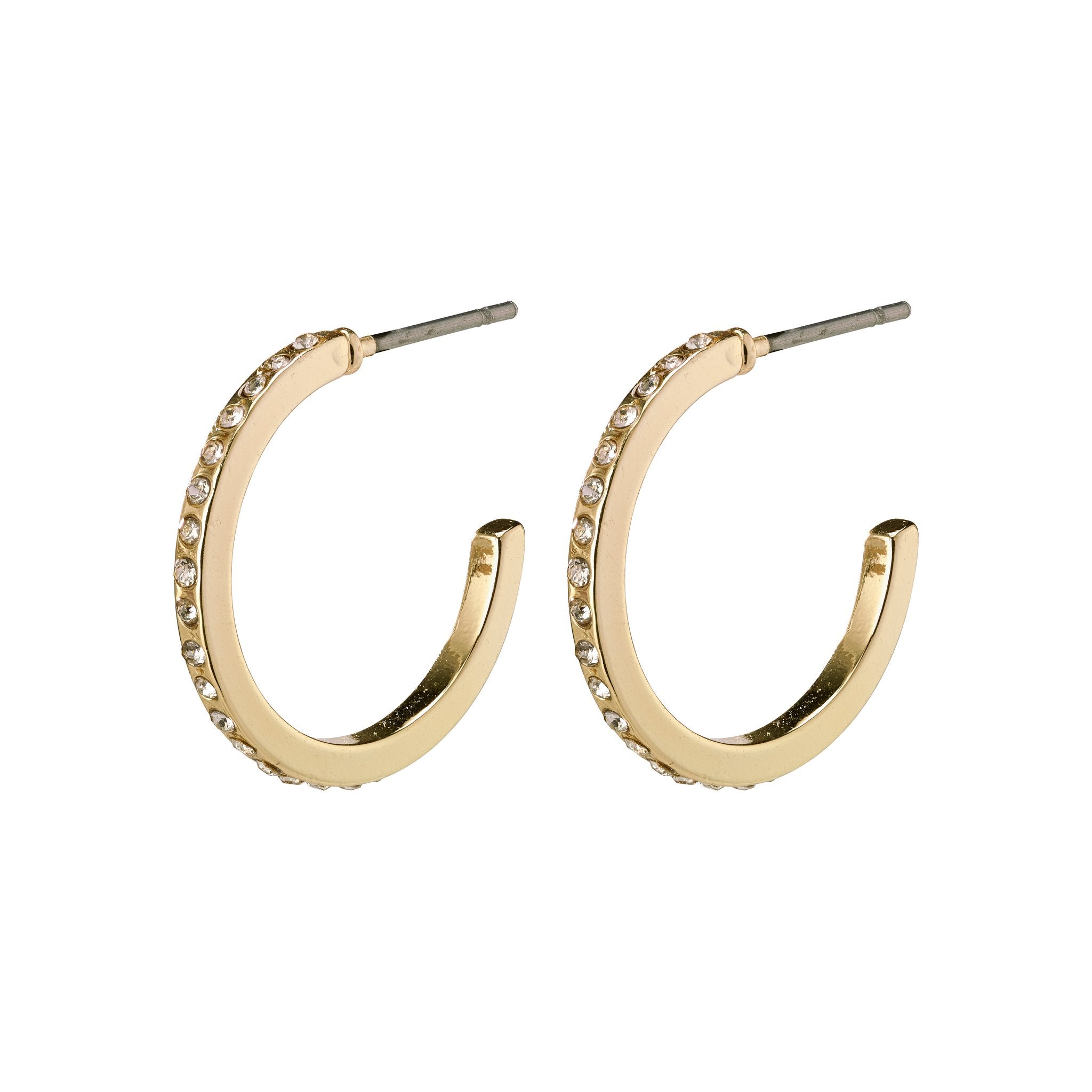 Roberta Pi Earrings - Gold Plated Crystal - 17mm