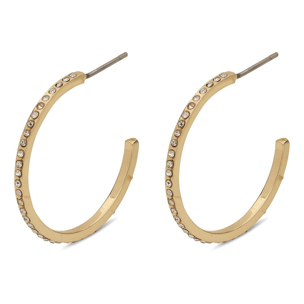 Roberta Pi Earrings - Gold Plated Crystal - 25mm