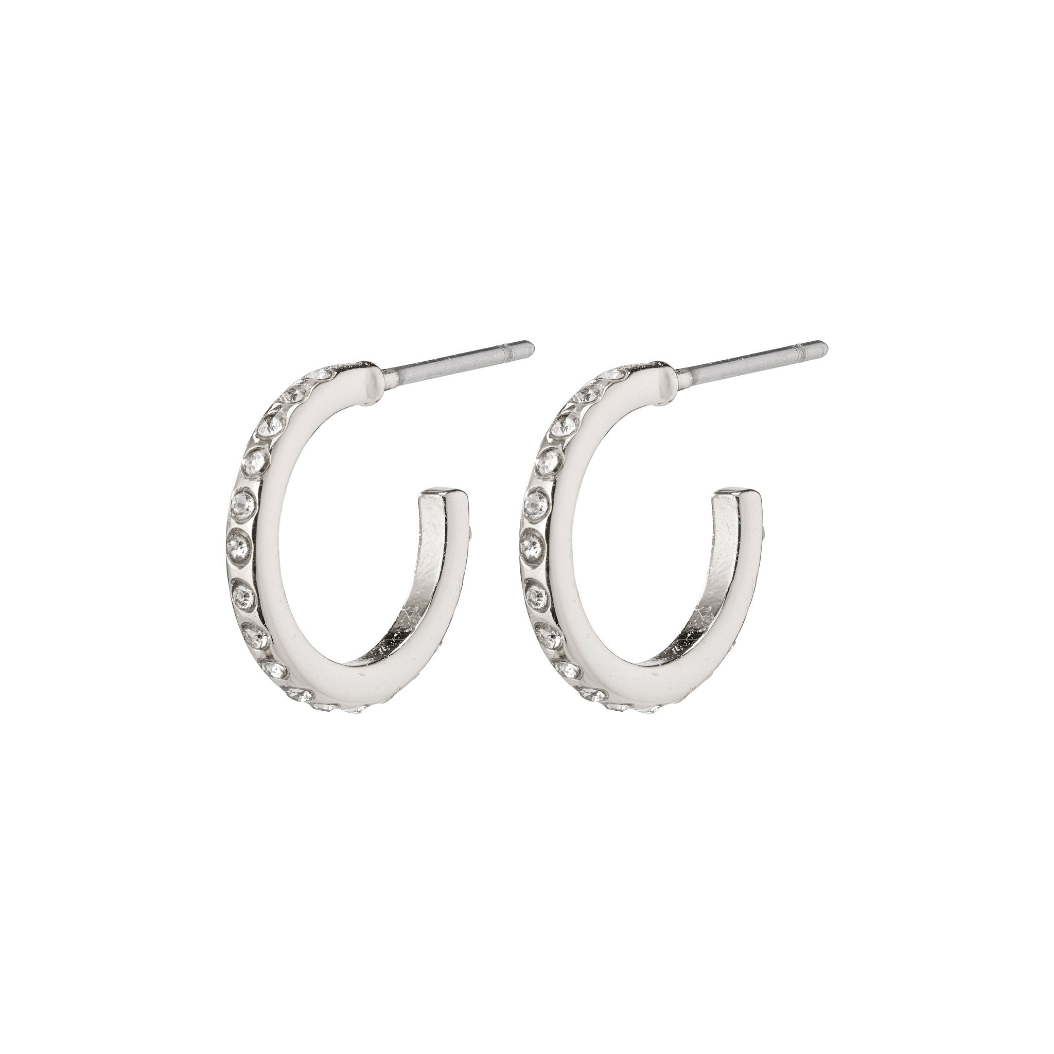 Roberta Pi Earrings - Silver Plated Crystal - 12mm