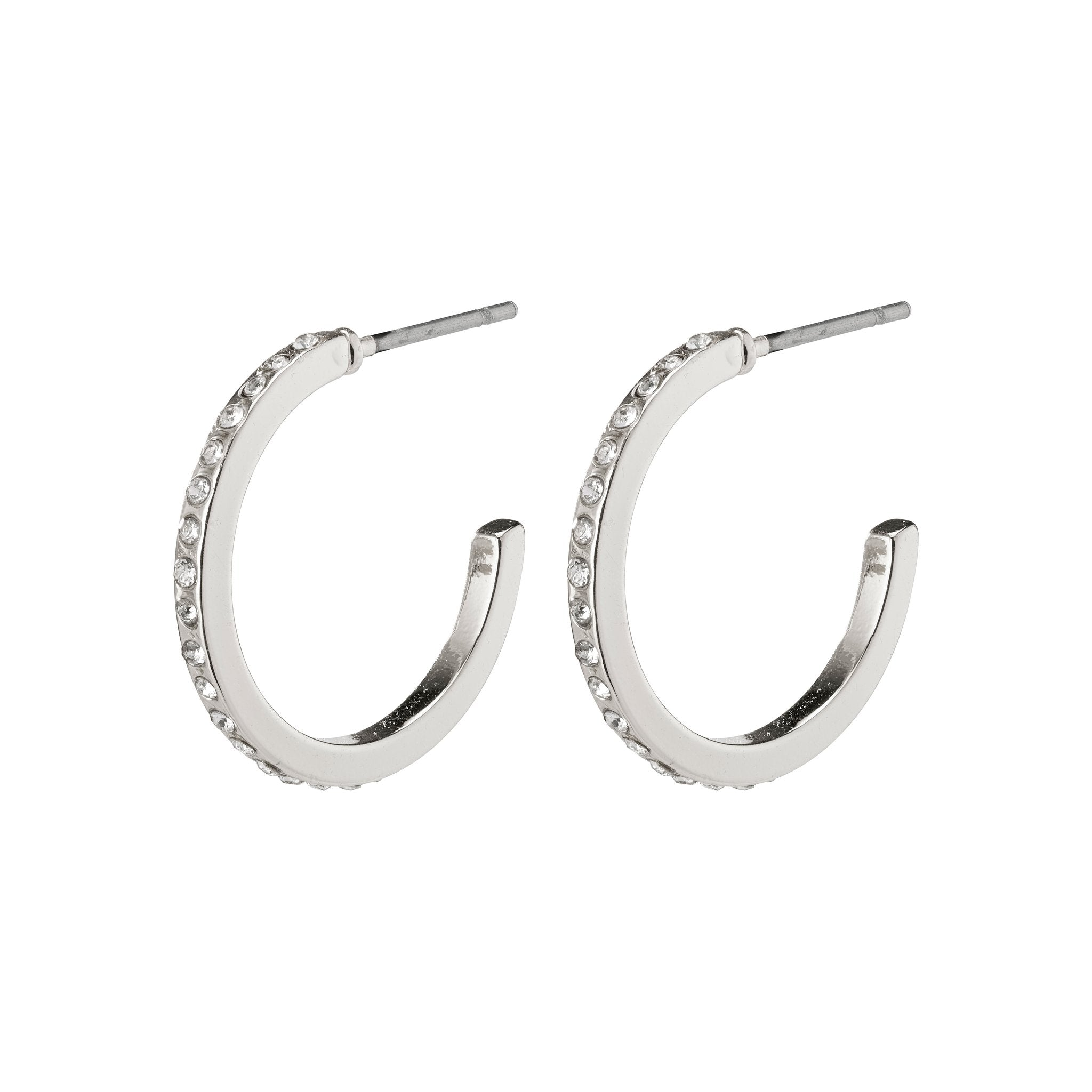 Roberta Pi Earrings - Silver Plated Crystal - 17mm