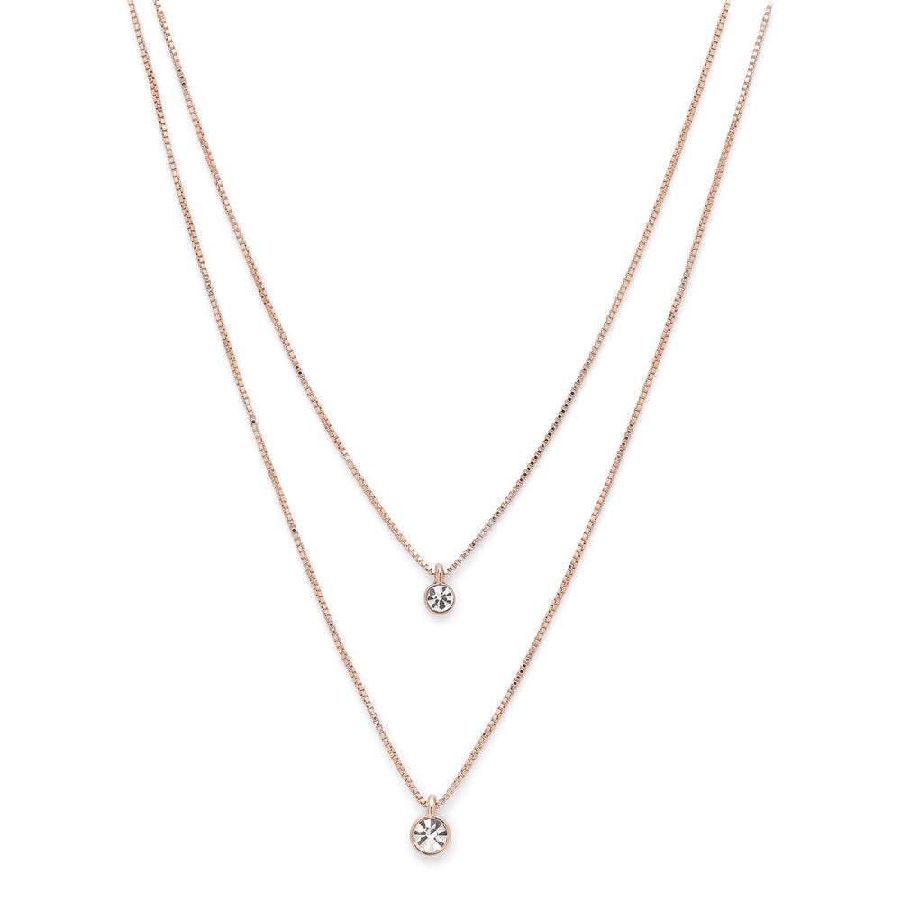 Lucia Pi Necklace - Rose Gold Plated - Double