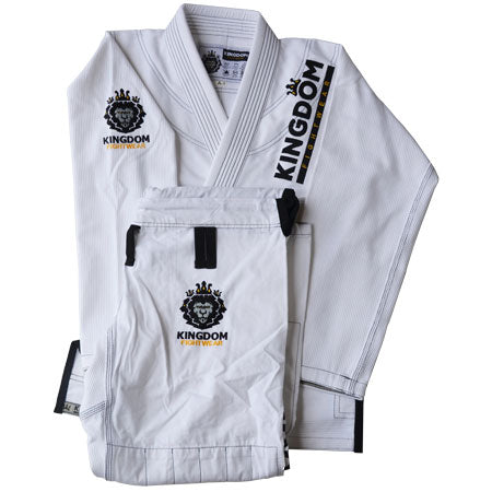 Mens Kingdom Kimono - White Classic - 1.0 - Kingdom Fightwear