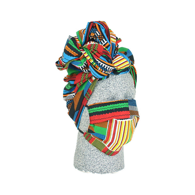 Multicolor Headwrap & Mask Set
