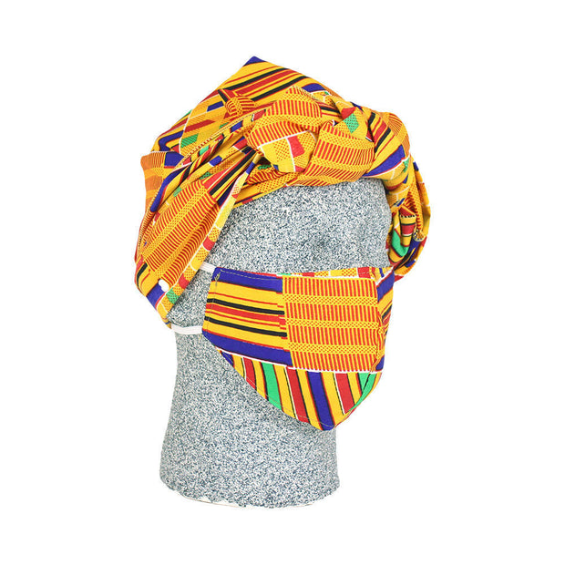 Kente Headwrap & Mask Set