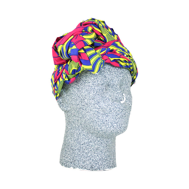 Pink & Blue African Print Headwrap